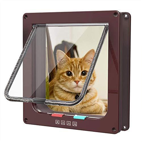 Cat Door Flap/Puerta Magnética para Mosquitera para Mascotas con 4 Vías con Cerradura Cat Flap Pet Dog Pet Flap Door Kit De Puerta para Mascotas