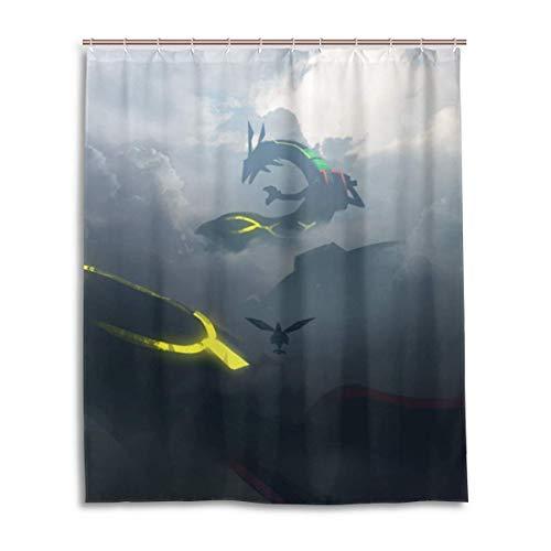 zhengdengshuibaihuodian Pokémon Rayquaza Bad Duschvorhang Duschvorhänge aus wasserdichtem Gewebe