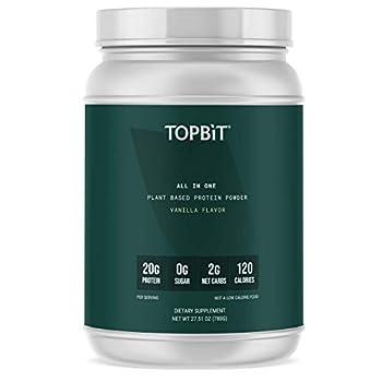 TOPBiT All-in-One Plant Protein Powder Vanilla Flavor– Vegan Protein Powder Sugar Free Protein Stevia Free Nut Free Soy Free 20g Protein Shake Probiotics BCAA Greens 1.8LB