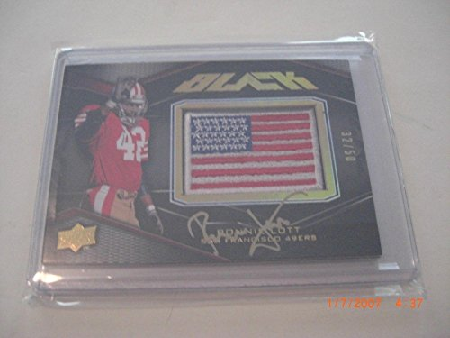 Ronnie Lott 2009 Upper Deck Black Flag Game Used Jersey Auto 32/50 Signed Card - Football Game Used Cards