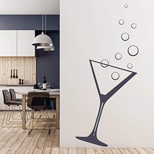 Etiqueta de la pared artista decoración del hogar patrón de cóctel de vidrio de martini impermeable