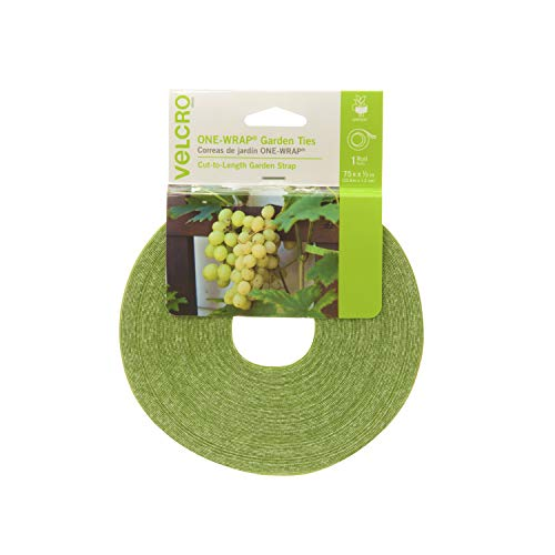 VELCRO Brand 90648 ONE-WRAP Supports for Effective Growing | Strong Gardening Grips are Reusable and Adjustable | Gentle Plant Ties | Cut-to-Length | 75 ft by 1/2 in roll | Green, x