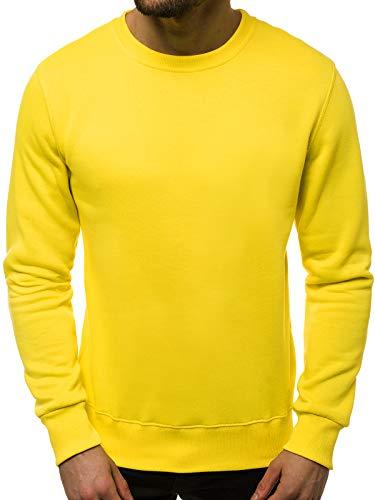 OZONEE Herren Sweatshirt Pullover Langarm Farbvarianten Langarmshirt Pulli ohne Kapuze Baumwolle Baumwollmischung Classic Basic Rundhals-Ausschnitt Sport OZONEE 01B M GELB-NEON