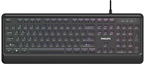 PHILIPS Ultra-Slim USB Keyboard | Low-Profile Full-Sized Wired PC Keyboard | RGB Backlit Chiclet...