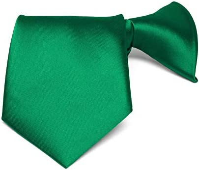 TieMart Boys Kelly Green Solid Color Clip On Tie 11 Length product image