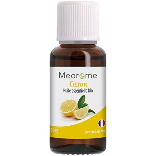 Huile essentielle CITRON BIO (Citrus Limon) - Aromathérapie Diffuseur, Peau grasse, Cosmétiques - 30 ml - 100% Pure et Naturelle, HEBBD, HECT - Distillée en France - Mearome