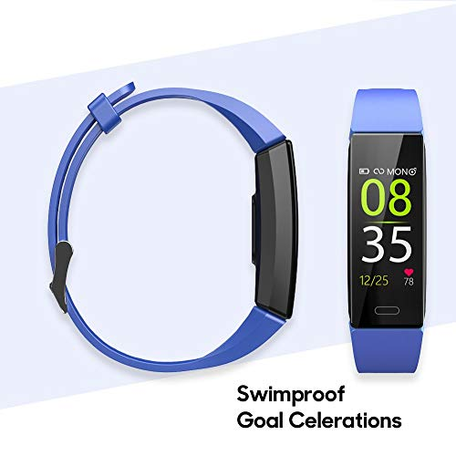 ZURURU Fitness Tracker with Blood Pressure Heart Rate Monitor, IP68 Waterproof Activity Tracker Fit Smart Watch with 10 Sport Modes Pedometer Calorie Step Counter for Women Men (Royal Blue) 2