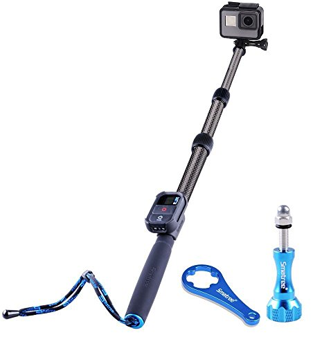Smatree S2C Carbon Fiber Extendable Pole Compatible for GoPro Hero 8/7/6/5/4/3 Plus/3/2/1/Session/DJI OSMO Action Camera (WiFi Remote Controller is Not Included)