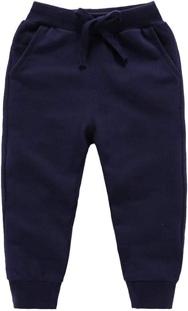 ECHERY Unisex Kids Cotton Pants Fleece Elastic Waist Winter Trousers Baby Bottoms Sweatpants 1-5 Years
