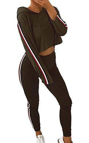 Minetom Damen Jogginganzug Wellnessanzug Hausanzug Jogger Langarm Hoodies Sweatshirt Streetwear Grün DE 38
