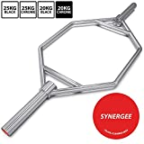 """Synergee 20kg and 25kg Chrome or Black Olympic Hex Barbell Trap Bar with Flat or Raised Handles for Squats, Deadlifts, Shrugs. 56"""" Long Bar with 10"""" Sleeve."""