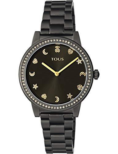 TOUS Reloj Nocturne IPG ESF Negra Piedras Brazalete (TOUS Reloj Nocturne de Acero IP Dorado con Bisel de Zirconitas Ref:900350415)