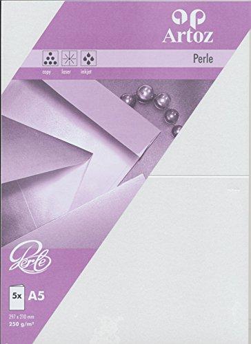 Artoz Papier AG - Doppelkarte A5 Perle 5er-Pack weiss