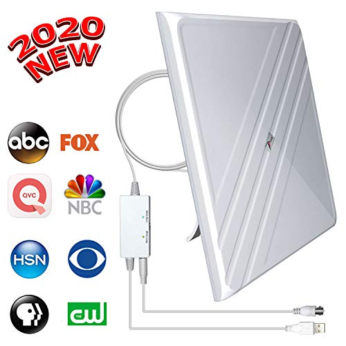 [2020 Upgraded] Amplified HD Digital TV Antenna - Best 120 Miles Range Indoor Antenna TV Digital HD Amplifier Signal Booster, Support All TV's 4K/VHF/UHF/1080P Free Local Channels, 16.4Ft Coax Cable