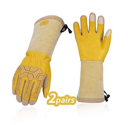 Vgo 2 Paare Rosagarten- und Arbeitshandschuhe, mit Langen Armen und Soften Kuhlederpalmen, für Rosa oder Kaktusgartebarbeit, männliche Handschuhe (9/L, Gold, CA9659)