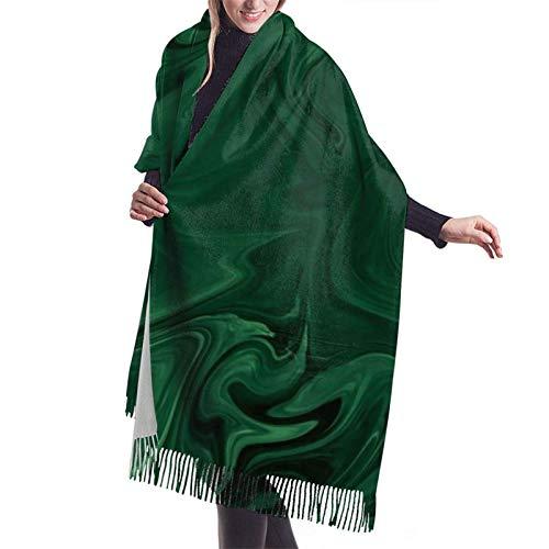 Chal grande de cachemira abstracta verde esmeralda contemporánea moderna chal grueso de invierno cálido chal de abrigo