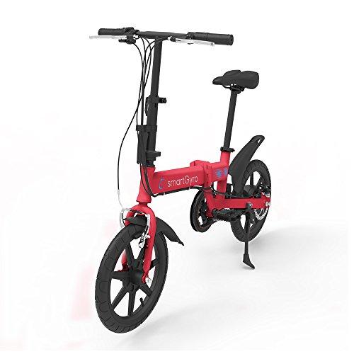 """SMARTGYRO Ebike Red - Bicicleta Eléctrica, Ruedas de 16"""", Asistente al Pedaleo, Plegable, Batería extraíble de Litio de 4400 mAh, Freno V-Brake y Disco, Autonomía 30-50 Km, Color Rojo"""