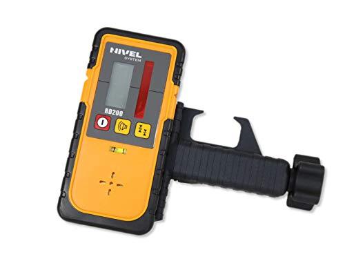 Nivel System RD200 Empfänger für Baulaser Rotationslaser mit rotem Strahl inkl. Halteklammer zur Befestigung an Messlatten, Laser-Latten, Genauigkeit umschaltbar inkl. Lattenhalter