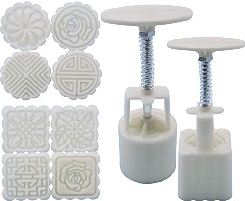 Heatoe 2 Sets Of Moon Cake & Mung Cake Mold, Biscuit Pressing Mold, Round And Square Moon Cake Making Tools. (50g 8pcs Round And Square Stamp)
