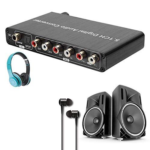 sjlerst Digitaler Audiokonverter-Decoder, DTS / AC3-Decodierung für SPDIF-Eingang in 5.1-Tonkanal, für Dolby AC3 / DTS/AC-3 / DTS/LPCM/PCM/RAW-Audioformat (Schwarz)(Schwarz)