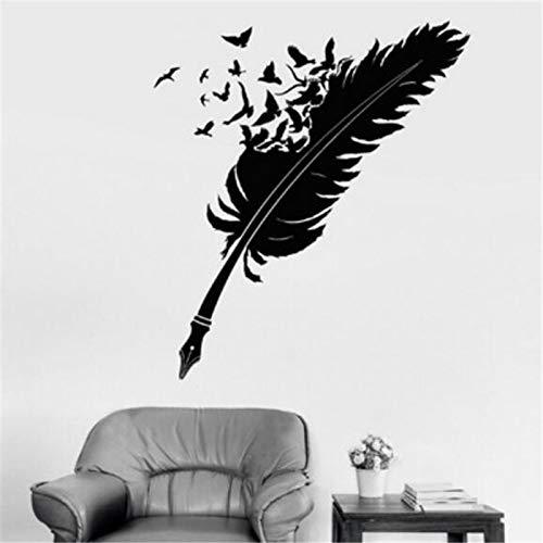 1PC Black Carved Feather Plume Wandaufkleber Abnehmbare Persönlichkeit Wohnzimmer Schlafzimmer Hintergrundbild