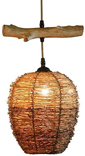 Rattan Houten Kroonluchter, Amerikaanse Retro Japanse Stijl Creatieve Plafondlamp, Restaurant Aisle Bar Single-Head IJzeren Touw Hanglamp