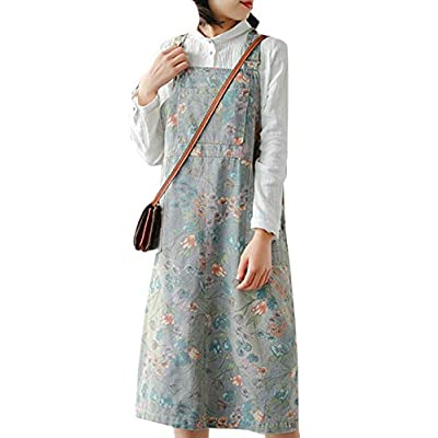 Women's Retro Floral Printed Suspender Skirt Casual Jean Overall Dress