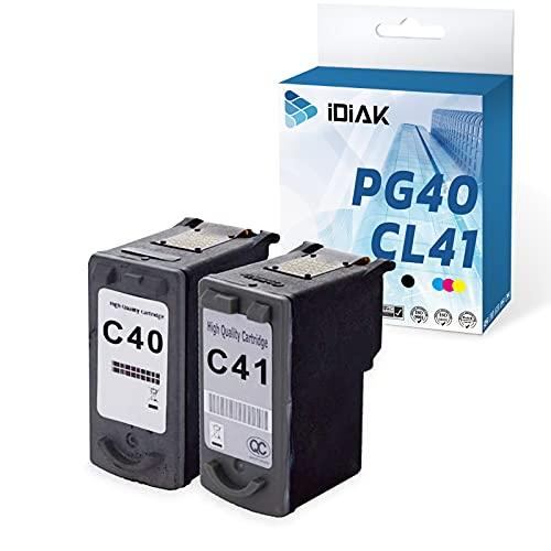 IDIAK Cartuchos de Tinta PG40 CL41 remanufacturados compatibles con Canon PG40 CL41 con Canon Pixma iP1200 iP1300 iP1600 iP1700 iP1800 iP2600 MP140 MP150 MP160 MP190 MP210 MP220 MP470 Negro+Tricolor