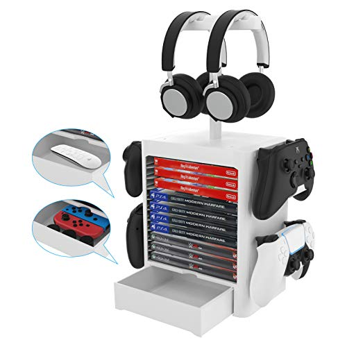 how to refund a game on ps4 and ps5 EJGAME Multifunctional Game Disk Storage Tower Holder for PS5,Game Disk Rack and Controller/Headset Stand Holder Compatible with Xbox Series X/Nintendo Switch/PS4-White