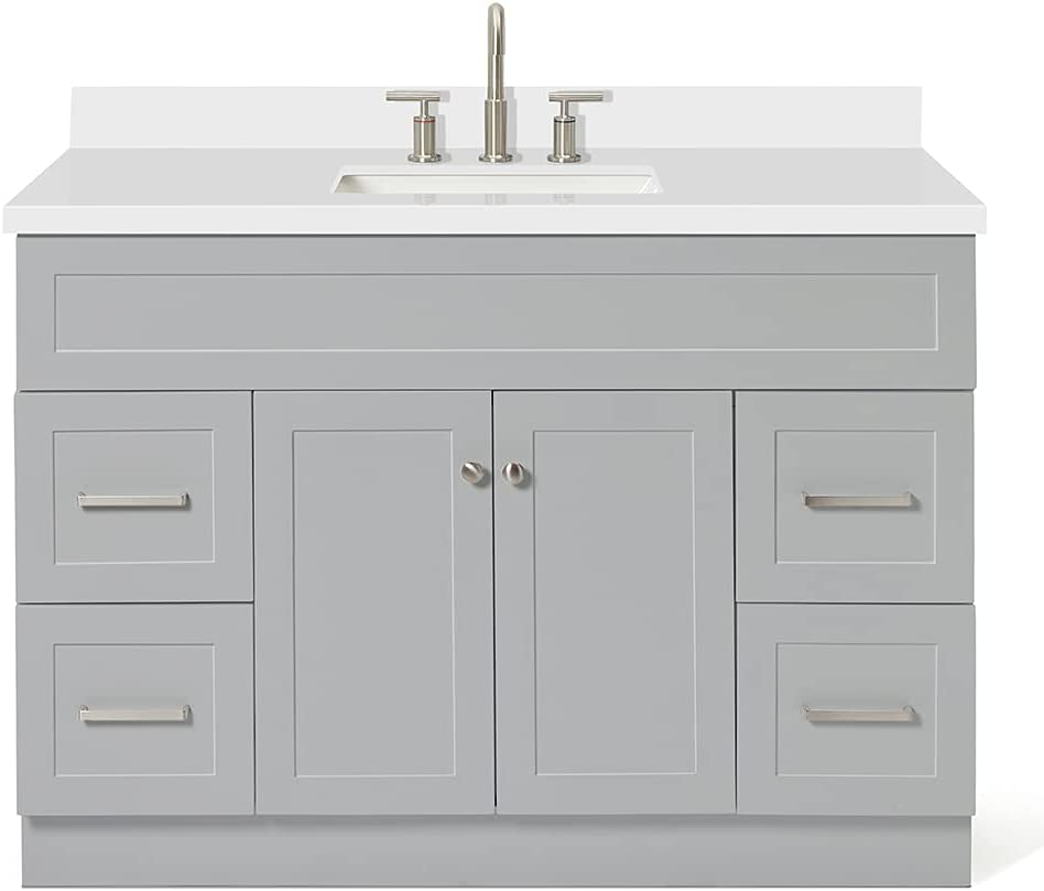 Buy Ariel 49 Inch Single Vanity Cabinet In Grey With Pure White Quartz Counter Top 2 Soft Closing Doors 4 Full Extension Dovetail Drawers Built In Toe Kick No Mirror