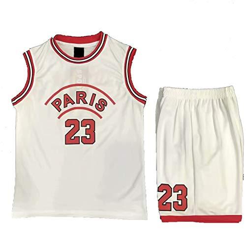 23 # - Camisetas de baloncesto para niños y niñas, camisetas de verano para niños y niñas, ropa de rendimiento de bebé, camisetas de entrenamiento deportivas, color blanco - 2XS