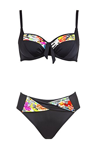 Charmline Damen Badeanzug Bikini Art. 2266 Dis. 654 col. 640 (DE 44C, 640 Black-Multicolor)