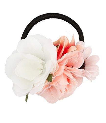 SIX Damen Blumen Haarschmuck, Haargummi mit 4 Blumen Elementen in weiß rosa orange für Frisuren, Kostüm, Dia de Muertos (485-208)