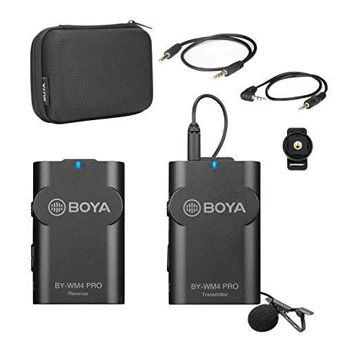 Sistema microfono wireless BOYA BY-WM4 PRO 2.4G (un trasmettitore + un ricevitore) con custodia rigida compatibile con fotocamera DSLR Videocamera Smartphone PC Audio Registrazione audio Intervista