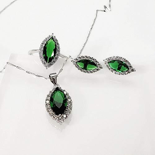 THTHT Mode S 925 sieraden sterling zilver halsketting opening ringen oorbellen vrouwen gekleurde steen groen oog strass retro classic creatief charme high-end cadeau