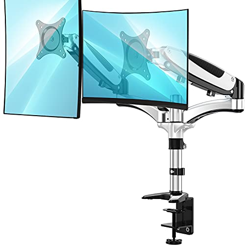 Huanuo dual monitor stand - height adjustable monitor mount fits two...
