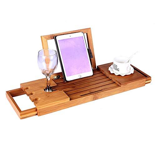 Badkuip-plateau met uittrekbare armen | wijnglashouder | geschikt voor de meeste badkamers met boekenhouder wijnglas kaars tablet iPad en smartphone-houder