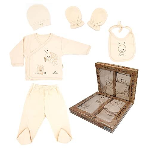 Ipeksi Baby Neugeborenen Baby Set 100% natürliche Baumwolle Erstausstattung Erstlingsausstattung Ausstattung Unisex Kleidung Geschenkeset Babyausstattung mit 5 Teilig für Babys 0-4 Monate