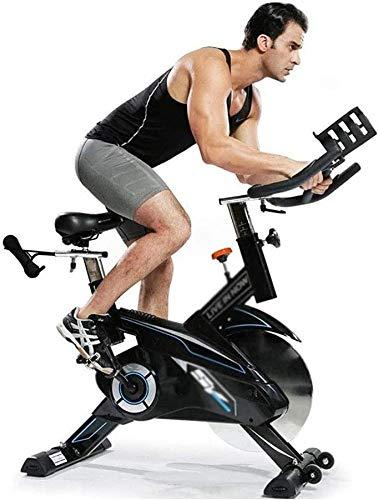[Promoción 2021]Bicicleta estática aeróbica, bicicleta estática para interiores, bicicleta giratoria, pantalla LCD, con manillar ajustable, rueda volante de 44 lb y sensor para bicicleta con correa