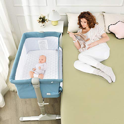 BABY JOY Baby Bedside Crib, Portable Bassinet w/Carrying Bag, Easy Folding, Kids Bed Side Sleeper for Newborn Infant w/Detachable Mattress, Straps, Height & Angle Adjustable, Breathable Mesh, Blue
