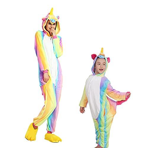 Regenboghorn Disfraz de animal unisex, pijama para Halloween, carnaval y Navidad con capucha