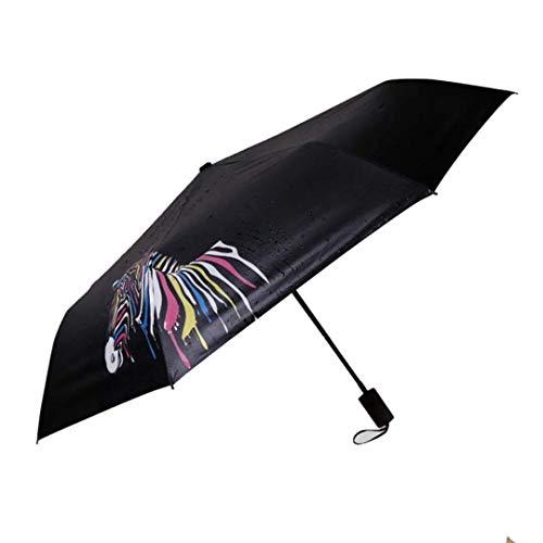 LABABE LABABE Zebra Folding Umbrellas Color Changing Rain Umbrella Windproof