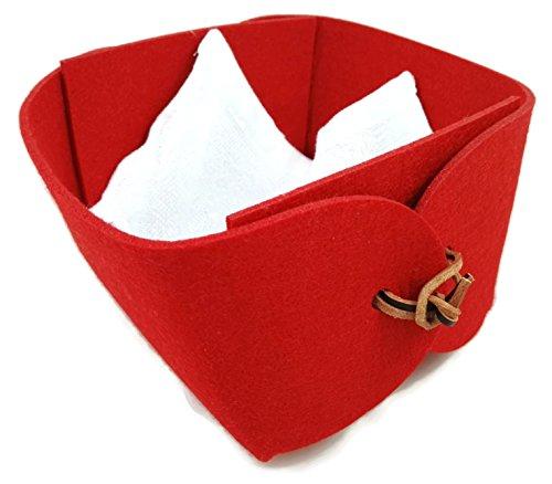 Corbeille à pain rouge 17 x 14 x 10 cm – Panier en feutre, tissu en coton et lanière en cuir – Rangement pour la Saint Valentin, Noël