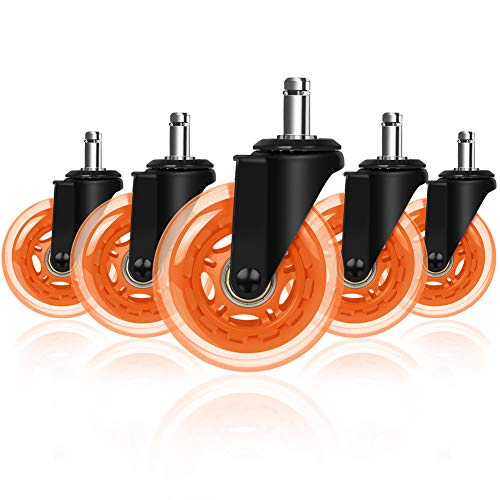 """3"""" Office Chair Caster, Hirate Durable Computer Desk Chair Casters Replacement Set of 5 Heavy Duty Protection for All Floors, Universal Stem 7/16 inch"""