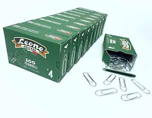 1.000 Fermagli Zincati Leone Dell'Era N. 4 - mm. 32 - Stecca da 10 scatole da 100 pz. - Made in Italy