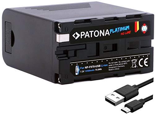 PATONA Platinum Ersatz für Akku Sony NP-F970 (echte 10500mAh / Powerbank Funktion) - Tesla Cells Inside - USB-Ausgang - Micro-USB Eingang