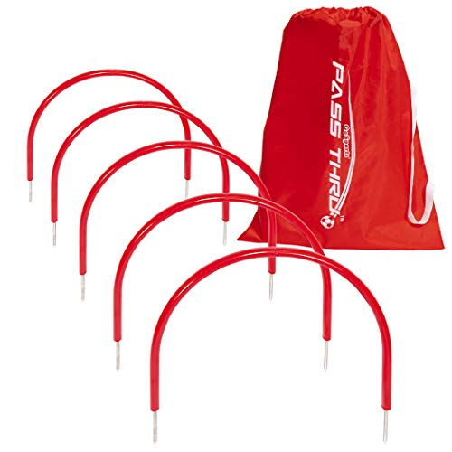 GoSports Pass Thru Soccer Training Arches for Grass - Great for Passing, Footwork and Kicking Drills for All Skill Levels, Red
