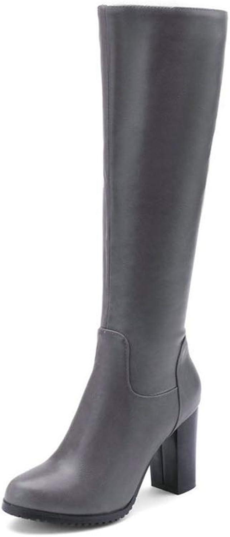 JOYBI Women Round Toe Knee-high Boots Chunky High Heels Zipper Waterproof PU Leather Motorcycle Boots