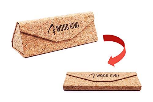Wood Kiwi® Naturkork Etui für Brillen, Vegan, Faltbar, sanftes Innenfutter, Magnet-Verschluss, geeignet für Brillen, Sonnenbrillen, Schmuck und mehr (Braun)