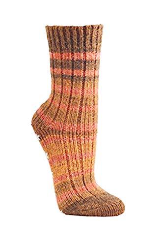 1 Paar Norweger mit Schafwolle Naturwarm für Damen und Teenager CH-2199 (35-38, Orange)